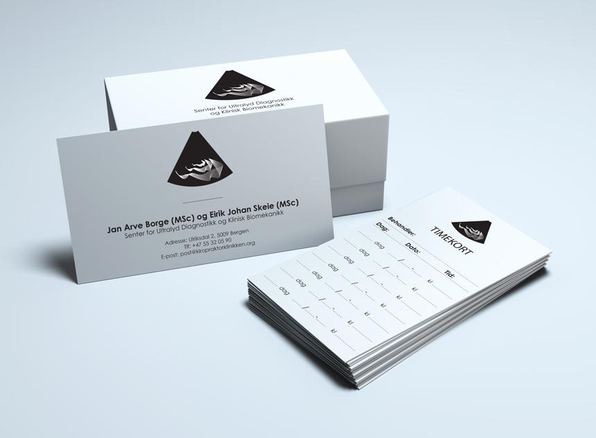 Logo, Visittkort og timekort for Kiropraktorklinikken i Bergen